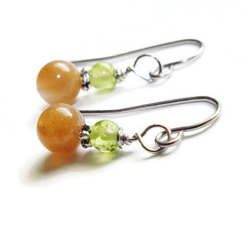 Oregon Sunstone Earrings, Peridot Earrings, Copper Shiller Earrings, Surgical Steel Earrings