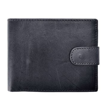 ZLYC Retro Simple Style Handmade Dip Dye Leather Wallet Card License Holder for Men
