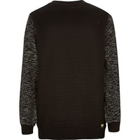 River Island Boys black textured sleeve quilted sweatshirt