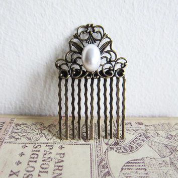 Pearl Hair Comb Wedding Bridal Hair Comb The Great Gatsby Vintage Style Comb White Pewter Bronze Victorian Spanish Lord of the Rings LOTR