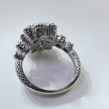 On SALE Judith Ripka Ring Sterling Vintage Design QVC Diamonique Diamonds Size 9.75