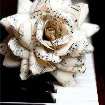 vintage sheet music rose deluxe  handmade paper by TheCrimsonPoppy