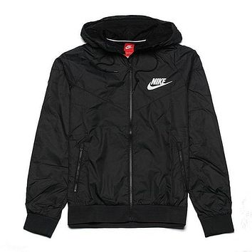 """NIKE"" Windbreaker Zipper Coat Jacket Contrast Cardigan Black"