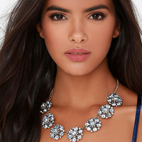 Room to Bloom Blue Rhinestone Statement Necklace