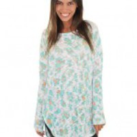 Mint And Coral Animal Print Top