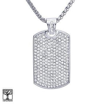 Jewelry Kay style Men's Silver Plated Stainless Steel Icy Dog Tag Pendant Chain Necklace SCP 582 S
