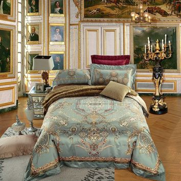 Cool 4/6 Pieces King Queen size Europe Luxury Bohemia Mandala Bedding set Egyptian Cotton Silky Duvet cover Bed sheet set PillowcasesAT_93_12