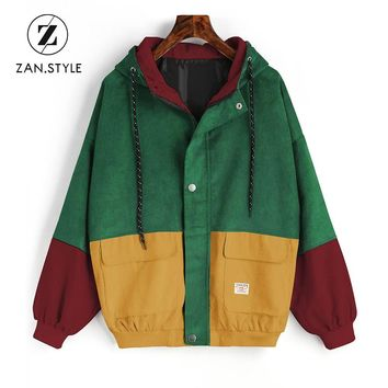 Trendy Winter Jacket ZAN.STYLE Winter Warm Color Block Hooded Corduroy  Drawstring Hit Color Patched Pocket Thick Basic Women Coat Harajuku New AT_92_12