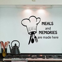 Wall Decals Chef Spoon Folk Knife Quote Meals and Memories Are Made Here Cafe Kitchen Vinyl Decal Sticker Living Room Wall Decor Home Interior Design Art Murals