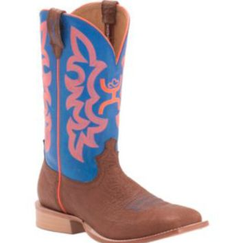 Twisted X HOOey Men's Cognac Bullhide with Neon Blue & Orange Logo Top Square Toe Western Boots