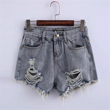 Summer Women's Fashion Ripped Holes Baggy Jeans Denim Shorts [6034325505]