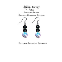"Earrings: Genuine 925 Sterling Silver, Onyx,And  Swarovski Elements  Opulent"" By A'Nena Jewelry Free Shipping in the USA Only"