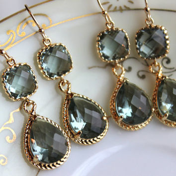 15% Off Set of 6 Wedding Jewelry Gray Grey Bridesmaid Earrings Bridal Bridesmaid Jewelry Two Tier Charcoal Gray Earrings Gold Teardrop