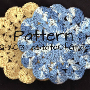 PATTERN - Round Dishcloth pattern number 5 - Washcloth - Coaster - Doily - Hotpad - Crochet Pattern - Treasury Item -  INSTANT DOWNLOAD