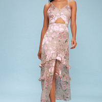 Magnolia Blush Floral Print Silk Cutout Maxi Dress
