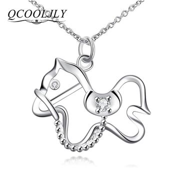 QCOOLJLY Vintage Pony Pendant Necklace With AAA Austrian Zircon Silver Color Chain Necklace Collection Animal Jewelry Gift