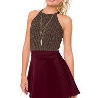 Heartbreaker Skater Skirt - Burgundy