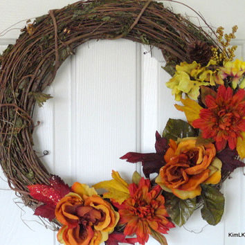 Fall Grapevine Wreath, Autumn Grapevine Wreath, Vine Wreath, Fall Flowers, Autumn Wreath, Thanksgiving Wreath, Floral Wreath, Door Decor