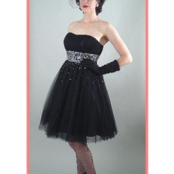 50's Style Strapless Black Tulle Full Skirt Party Dress-Vintage Style Dresses