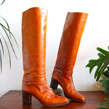 Vintage 70s Tall Leather Boots 7.5 Boho Riding Boots w/ Stacked Heel Chestnut Brown Leather High Heel Boots Hippie Cowgirl / Cowboy Boots