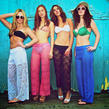 stretchy lace beach yoga lounge pants with shorts liner