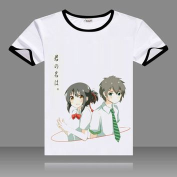 T-shirts kimi no na wa Cosplay Black O-Neck Short Sleeve Costumes Miyamizu Mitsuha Print Tops You name Tachibana Taki Tees