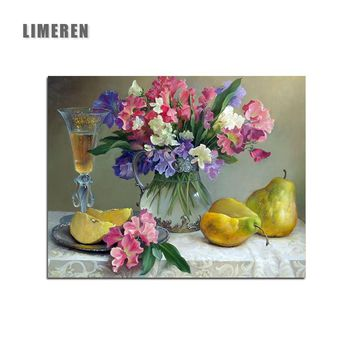 Painting Canvas Still Life Flower And Fruit Unframed Picture Home Decor DIY Acrylic Oil Painting By Numbers Wall Art