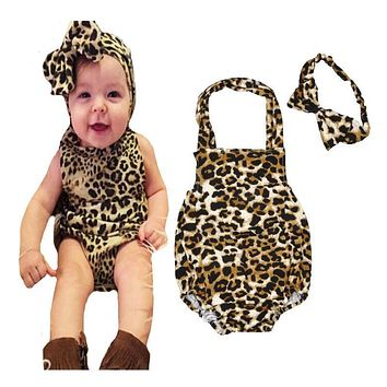 2017 male and female BABY BODYSUIT leopard print baby summer children climb 100% cotton clothing Jumpsuit baby climbing clothing