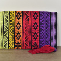 Aztec Foldover Clutch - with Red Tassel