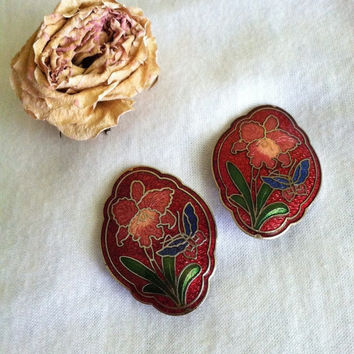 Floral Cloisonne Earrings Vintage Red Rose Pink Blue Green Enamel Cloisonne Earrings With Iris Flower and Butterfly Fall Christmas Jewelry