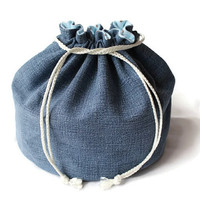 Boys Denim & Blue Toy Bag Light Blue Brown White Flannel Upcycled Blue Jeans Block Tote Medium Bucket Bag -- US Shipping Included