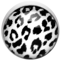 5mm White Leopard Print Dermal Anchor Top | Body Candy Body Jewelry