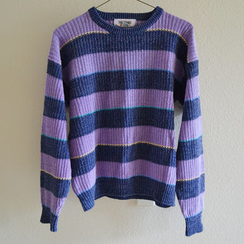 Purple Striped Sweater Multicolored Oversized Vintage 90s L