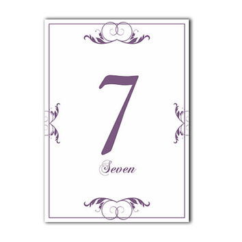 Printable Table Numbers DIY Instant Download Elegant Wedding Table Numbers Purple Eggplant Table Numbers Printable Table Cards (Set 1-20)