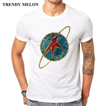 Trendy Melon Fashion T-shirt Men Russia CCCP Space Rocket Flag Cool Funny Tees White Cotton Tops Hipster JC04