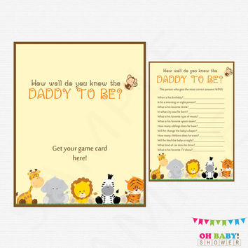 Safari Baby Shower Games, How well do you know the DADDY to be, Jungle Baby Shower Games, Printable Baby Shower, Instant Download, BS0001-N