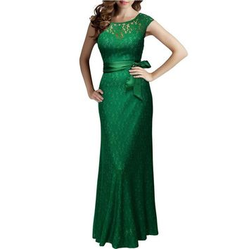 Women 2017 Summer Long Lace Dresses Party Robe Green Elegant Slim Ladies Bandage Casual Dress Evening Party Prom Vestidos Maxi