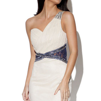 Cream One Shoulder Embellished Dress with Pleated Bust
