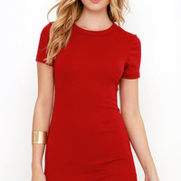 Hey Good Lookin' Short Sleeve Red Dress