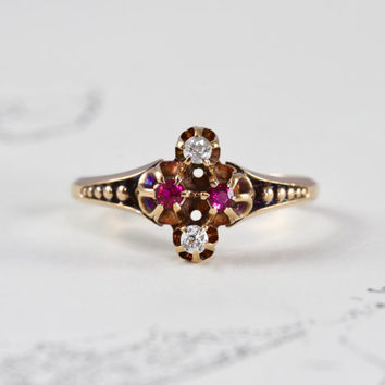 Victorian Ruby & Diamond Ring, Antique 14k Rose Gold Mine Cut Diamond Alternative Engagement Stacking Ring, July April Birthstone