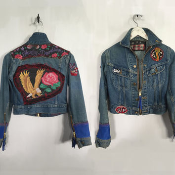 Customized Vintage Harley Davidson Jacket vintage denim Biker Jacket blue leather STP Shelby AC Cobra roses patches cropped jacket medium