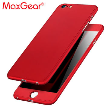 MaxGear 360 Degree Full Cover Red Case For iPhone 6  6s 7 Plus 5S 5 SE With Tempered Glass Case 6 Plus Phone Case Capa Coque