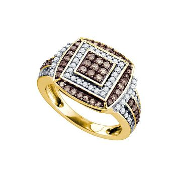10kt Yellow Gold Womens Round Cognac-brown Colored Diamond Square Cluster Cocktail Ring 1 Cttw