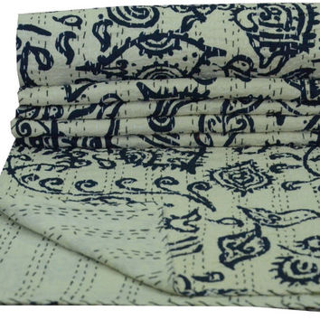 Indigo Kantha Quilt Indian Reversible Bedspread Bedding Throw Blanket kantha Bed Cover Picnic Throw