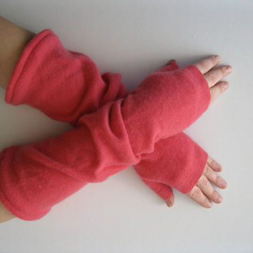 Cashmere Fingerless Gloves Pink Opera Length Arm by SewEcological