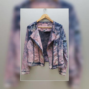 Vintage Dip Dye Acid Wash Women's Jean Jacket, Size XL, Girl's, Pink, Denim, Buffalo By David Bitton, Plus Size, Buffalo Jeans