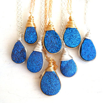 Electric Blue Titanium Druzy Necklace celebrities at Golden Globes Vitrine Gift for her Under 60 Raindrop necklace