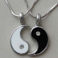 Split Yin Yang Friendship/Best Friend Silver Pewter Pendant with Snake Necklace