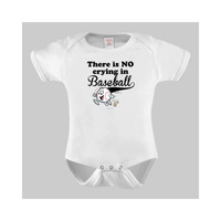 There is No Crying in Baseball Funny Baby Bodysuit or Toddler Tshirt