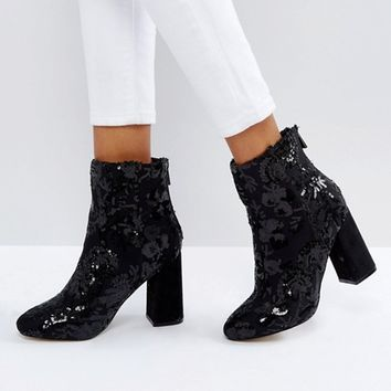 New Look Floral Sequin Embellished Heeled Ankle Boot at asos.com